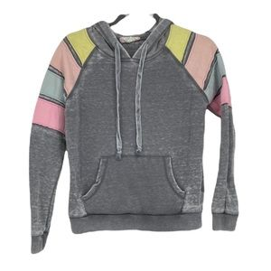 Pink Rose grey and pastel shoulder pullover hoodie XS